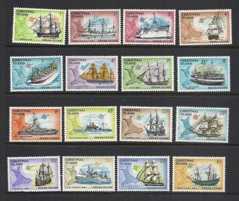 Christmas Island #39-54 comp mint Scott cv $9.30 Ships