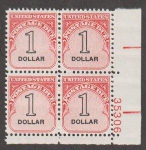 U.S. Scott #J100 Postage Due Stamp - Mint NH Plate Block