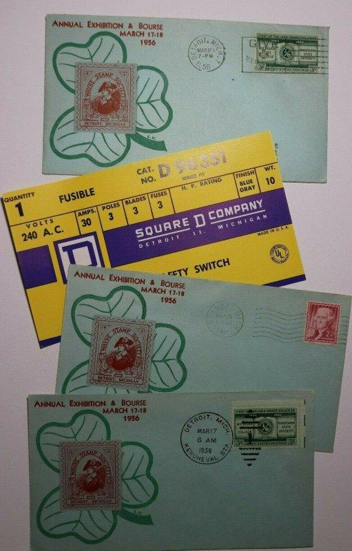 Wayne Stamp Society Detroit MI 1956 Philatelic Expo Cachet Cover Set 3