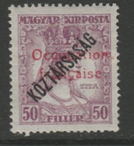 Hungary French Occupation Arad Issue 1919 50f MH* A18P16F635