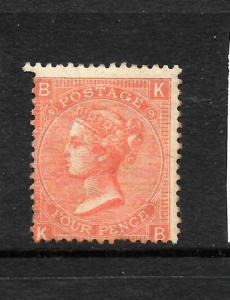 GREAT BRITAIN  1865-67  4d    QV   MLH  WMK INV  PLATE 9  SG 94a
