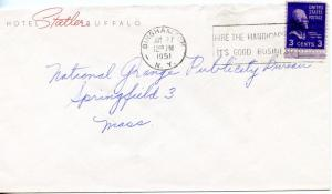 U.S. Scott 807 Prexie On 2 Color 1951 Hotel Cover sent from Binghamton, NY