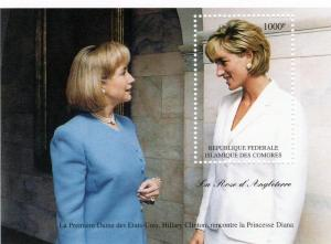 Comoro Islands 1997 Diana & Hilary Clinton s/s Perforated mnh.vf