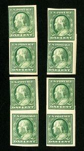US Stamps # 383H F 4 paste up pairs OG NH Scott Value $200.00