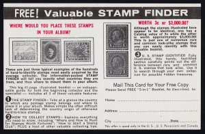 VALUABLE STAMP FINDER BOOKLET FROM PHILATELIC INSTITUTE - C1960s ADVERTISING PC