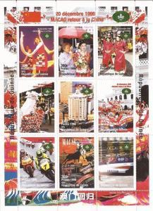Guinea - 1998 Macao Returns to China - 9 Stamp Sheet - 7B-2557