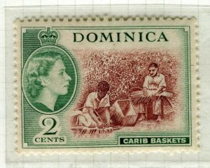 DOMINICA; 1954 early QEII issue fine Mint hinged 2c. value