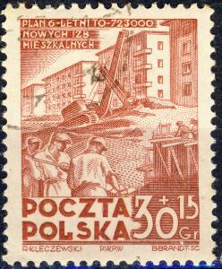POLOGNE / POLAND - 1952 Mi.746 30+15gr brown-red 6-year Plan - CTO