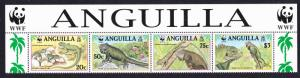 Anguilla WWF West Indian Iguana Strip of 4v with WWF Logo SG#1004-1007 SC#968