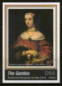 Gambia 2006 Rembrandt Painting Lady with a Lap Dog Art M/s Sc 3034 MNH # 13033