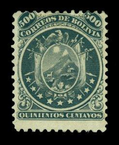 BOLIVIA  1868  CONDOR  500c black  Scott # 14 mint MH *OG - Rare