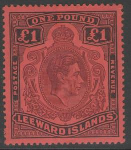 LEEWARD ISLANDS SG114 1938 £1 BROWN-PURPLE & BLACK/RED MTD MINT