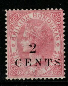 BRITISH HONDURAS SG25 1888 2c on 6c ROSE MTD MINT