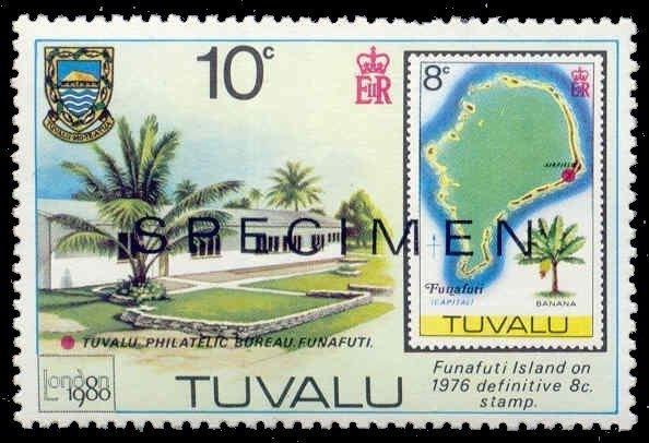 Tuvalu 1980 10c London Stamp Expo  w/ SPECIMEN Ovpt (Scott # 433)