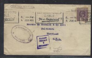 CEYLON  (PP0112B) 1941 KGV 5C CENSOR COVER PRINTED MATTER TO USA