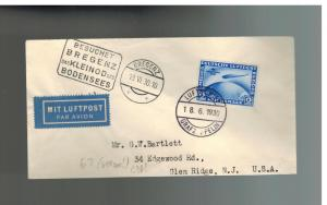 1930 Germany Graf Zeppelin Bregenz Flight Postard Cover  # C38 to USA