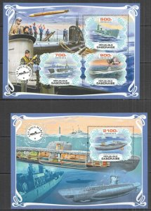 PA0010 2019 GABON SUBMARINES SHIPS & BOATS TRANSPORT BL+KB MNH