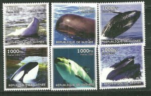Guinea MNH Set Of 6 Whales 2002