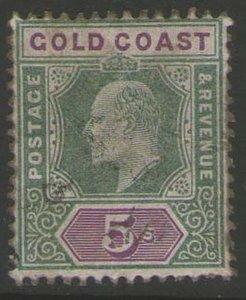 Gold Coast 1902 KEVII 5sh Sc 46 FU - RARE