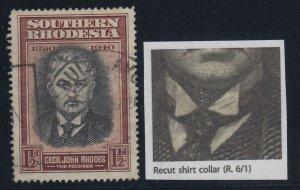 Southern Rhodesia, SG 55a, used Recut Shirt Collar variety