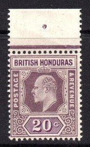 British Honduras 1902 EDVII 20c wmk crown CA SG 83 mint