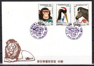 N. Korea, Scott cat. 3850-3852. Pyongyang Zoo issue on a First day cover. ^