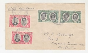 SOUTHERN RHODESIA,1947 Royal Visit,1/2d.(2),1d.(2), First day cover to Australia