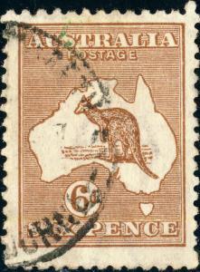 AUSTRALIA - 1923 - SG73 KANGAROO 6d Chestnut - VFU