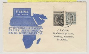 Kenya & Uganda 1931 1st Flight Cover To England Postal History  J6073