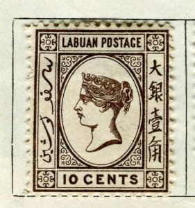 NORTH BORNEO LABUAN; 1892 early classic QV issue Mint hinged 10c. value
