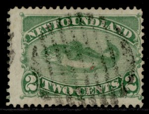 CANADA - Newfoundland QV SG46, 2c yellow-green, USED. Cat £32.