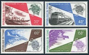 Chad C161-C164,MNH.Michel 704-707. UPU-100,1974.Vessel,Locomotive,Airplane,