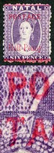 Natal SG114c 1/2d on 6d No stop after Postage Cat 26 pounds M/M Fine and Fresh
