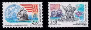 French Andorra 1992 Europa Issue Complete (2) Voyage of Columbus VF/NH(**)