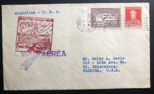1930 Buenos Aires Argentina First Flight Cover FFC To St Petersburg USA NYRBA