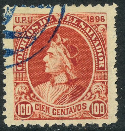 EL SALVADOR 1897 100c COLUMBUS Sc 170L USED
