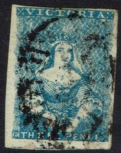 VICTORIA 1854 QV HALFLENGTH 3D MILKY BLUE IMPERF USED
