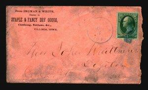 US 1870s Villisca Iowa Commercial Cover / Blue CDS - L4739