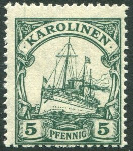 CAROLINE ISLANDS-1915-19 5pf Green Sg 28 UNMOUNTED MINT V36329