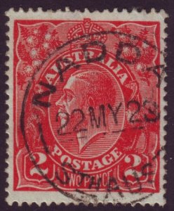 SOUTH AUSTRALIA POSTMARK NADDA ON 2d RED KGV DATED 1928 (A11623)