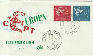 Europa Luxembourg 1961 Luxembourg Cancels CEPT Bird Pic FDC Stamps Cover Rf25960