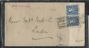 CHILE  (P3108B) 1898   COLUMBUS 5 C PR  ON COVER  IQUIQUE TO LONDON VIA PANAMA