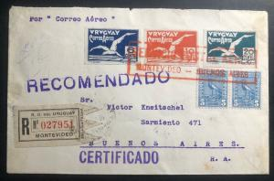 1926 Montevideo Uruguay Early Airmail Cover to Buenos Aires Argentina Imperf Sta