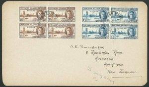 PITCAIRN 1946 Victory set fine used blocks of 4 on postcard to NZ 1947.....51713