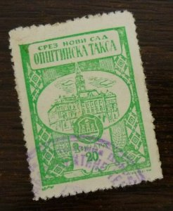 Yugoslavia Serbia NOVI SAD Local Revenue Stamp 20 Dinara  CX50