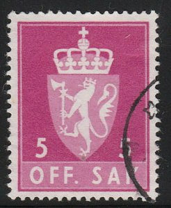 Stamp Norway Official Sc O065 1955 Dienst Coat Arms Used