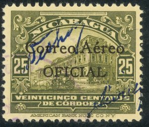 NICARAGUA 1933 25c National Palace AIRMAIL OFFICIAL w Control Sc CO10 MH