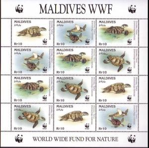 Maldives WWF Hawksbill Turtle Sheetlet of 3 sets SG#2297-2300 MI#2420-2423