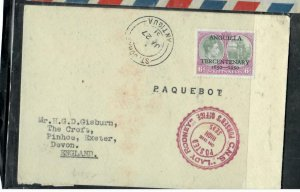 ST KITTS NEVIS COVER (P0807B) 1951 GVI 6D CENT PAQUEBOT COVER ANTIGUA TO ENGLAND