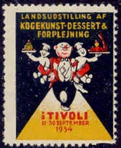 Denmark 1934 Tivoli Cooking Arts Expo Poster Stamp